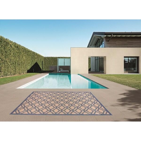 Festival Beige/Blue Indoor/Outdoor Flatweave Contemporary Rug - 7'10 x 9'10