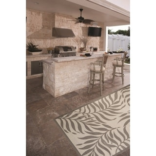 Tropical Light Grey/Anthracite Indoor/Outdoor Flatweave Contemporary Rug - 7'10 x 9'10