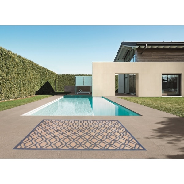 Festival Beige/Blue Indoor/Outdoor Flatweave Contemporary Patio, Pool, Camp, and Picnic Rug - 8' 10' x 11' 9