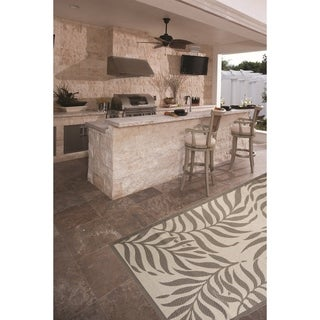 Tropical Light Grey/Anthracite Indoor/Outdoor Flatweave Contemporary Area Rug - 8'10 x 11'9
