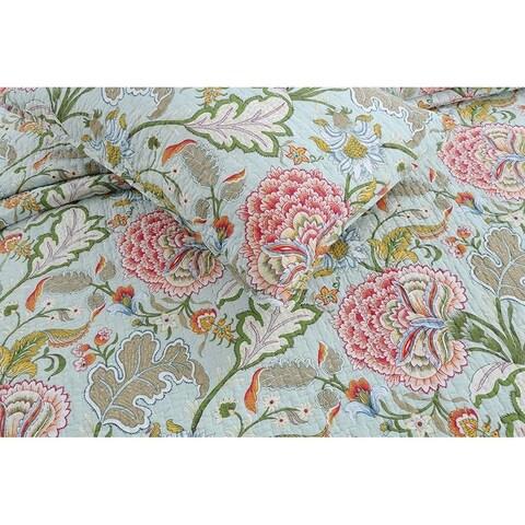 Cozy Line Aregada Floral 3 Piece Reversible Cotton Quilt Set