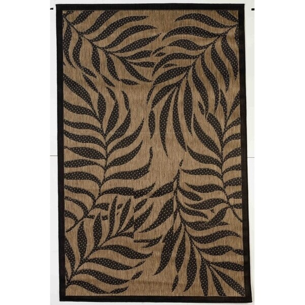 Contemporary Tropical Brown Black Flatweave Indoor Outdoor Rug 8 10 X 11 9 Free Shipping Today 25452802