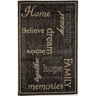 Home Black/Beige Flatweave Outdoor Area Rug - 3'11 x 5'10