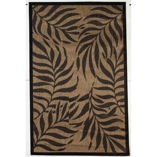 Tropical Brown/Black Indoor/Outdoor Flatweav Rug - 3'11 x 5'10