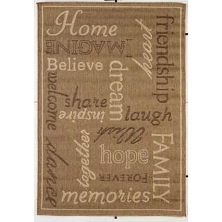 Home Gold/Beige Indoor/Outdoor Flatweave Contemporary Rug - 7'10 x 9'10