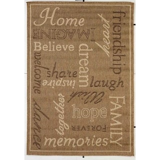 Home Gold/Beige Indoor/Outdoor Flatweave Contemporary Rug - 7'10 x 9'10
