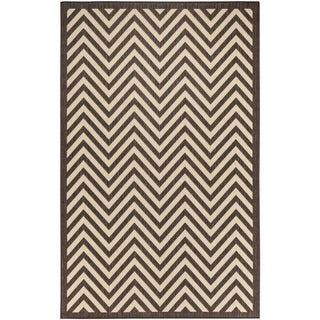 Chevron Beige/Light Chocolate Indoor/Outdoor Flatweave Area Rug - 7'10 x 9'10