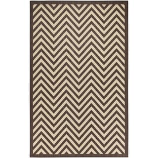 Chevron Beige/Light Chocolate Flatweave Indoor/Outdoor Area Rug - 8'10 x 11'9