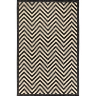 Chevron Beige/Black Indoor/Outdoor Flatweave Contemporary Patio, Pool, Camp and Picnic Rug - 8' 10 x 11' 9