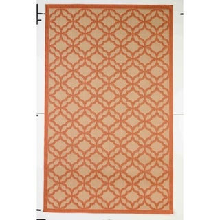 Festival Beige/Terra Indoor/Outdoor Flatweave Contemporary Patio, Pool, Camp, and Picnic Rug - 7' 10 x 9' 10