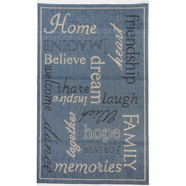Home Blue/Beige Flatweave Indoor/Outdoor Area Rug - 3'11 x 5'10