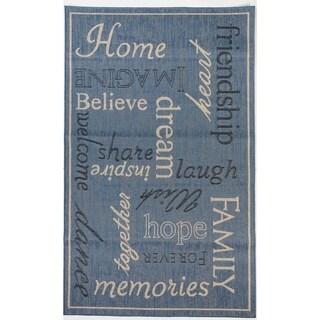 Home Blue/Beige Flatweave Indoor/Outdoor Area Rug - 3'11 x 5'10