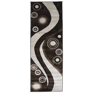 Spotted Brown Area Rug F 7508 Brown-White 3' x 8' - 3' x 8'