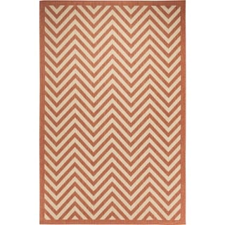 Chevron Beige/Terracotta Flatweave Indoor/Outdoor Area Rug - 8'10 x 11'9