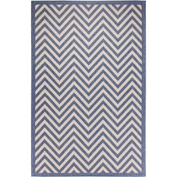 Chevron Beige/Blue Indoor/Outdoor Flatweave Contemporary Area Rug - 8'10 x 11'9