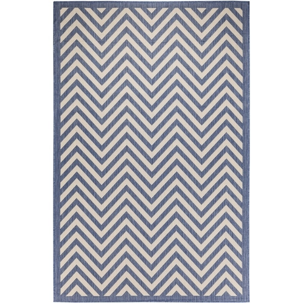 Chevron Beige/Blue Indoor/Outdoor Flatweave Contemporary Patio, Pool, Camp, and Picnic Rug - 7' 10 x 9' 10