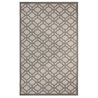 Festival Light Grey / Anthracite Indoor/Outdoor Flatweave Contemporary Patio, Pool, Camp, and Picnic Rug - 7' 10 x 9' 10