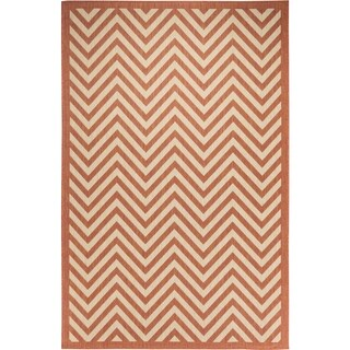 Chevron Beige/Terra Indoor/Outdoor Flatweave Contemporary Patio, Pool, Camp, and Picnic Rug - 7' 10 x 9' 10