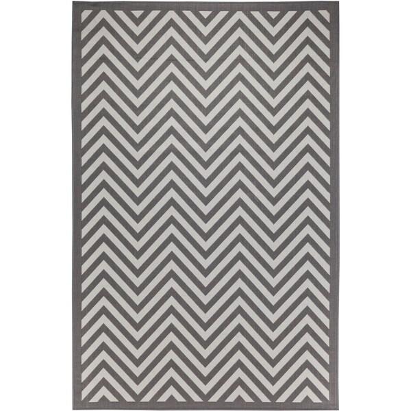 Chevron Light Grey/Anthracite Indoor/Outdoor Flatweave Contemporary Area Rug - 8'10 x 11'9