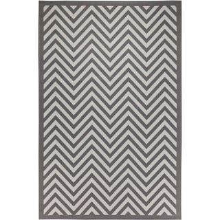 Chevron Light Grey/Anthracite Indoor/Outdoor Flatweave Contemporary Area Rug - 8'10 x 11'9