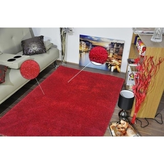 Super Shaggy Red Area Rug - 5' x 7'