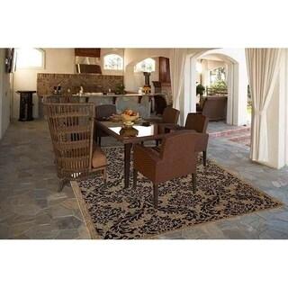 Grandeur Brown/Black Indoor/Outdoor Flatweave Area Rug - 7'10 x 9'10