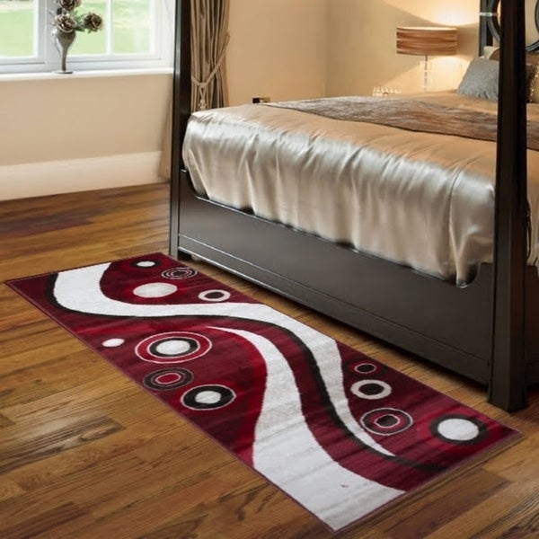 Spotted Brown Area Rug F 7508 Red-White 3' x 8' - 3' x 8'