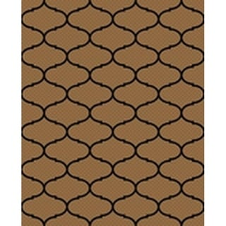 Ribbon Brown/Black Indoor/Outdoor Flatweave Contemporary Patio, Pool, Camp, and Picnic Rug - 7' 10 x 9' 10