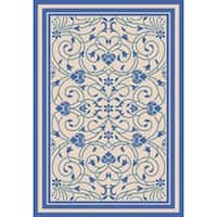 Baroque Beige/Blue Indoor/Outdoor Flatweave Contemporary Patio, Pool, Camp, and Picnic Rug - 7' 10 x 9' 10
