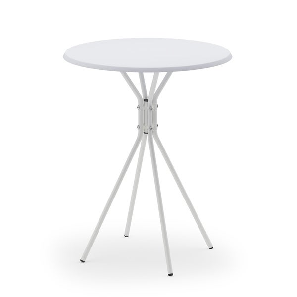 Porch & Den Ainslie White Metal Crossed Leg Round Side Table