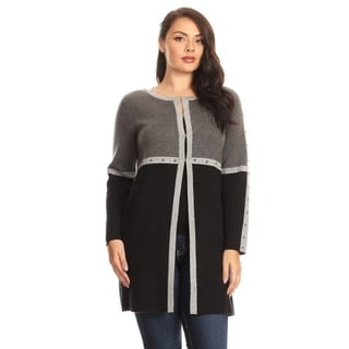 Colorblock Black/Gray Open Front Cardigan