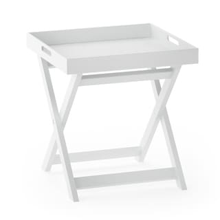 Porch & Den Warnock White Wood Folding Tray Side Table
