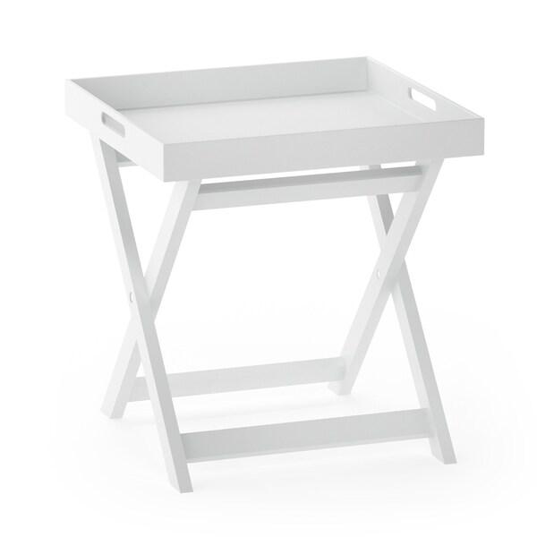 Porch & Den Warnock White Wood Folding Tray Side Table