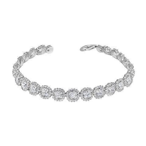 14k White Gold Cushion-cut Swarovski and Cubic Zirconia Tennis Bracelet