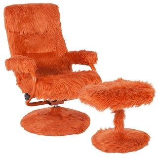 Raleigh Orange Fabric Upholstered Swivel Recliner and Ottoman Set