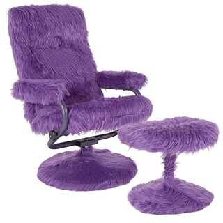Raleigh Purple Fabric Upholstered Swivel Recliner and Ottoman Set