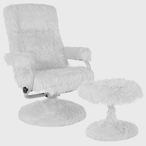 Raleigh White Fabric Upholstered Swivel Recliner and Ottoman Set