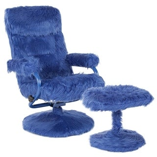 Raleigh Blue Fabric Upholstered Swivel Recliner and Ottoman Set