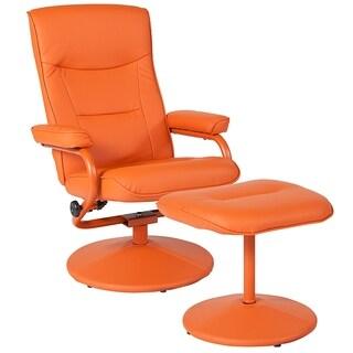 Moline Orange Vinyl Upholstered Swivel Recliner and Ottoman Set