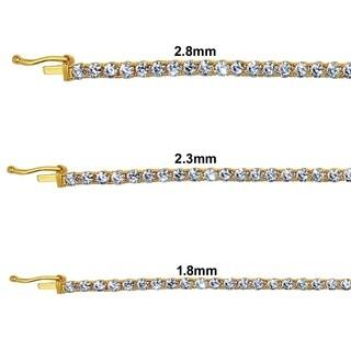 14k Yellow Gold Round-cut Cubic Zirconia 1.8-mm to 2.8 mm Tennis Bracelet