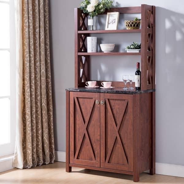 Shop Furniture of America Yeer Rustic Walnut Kitchen Storage ...