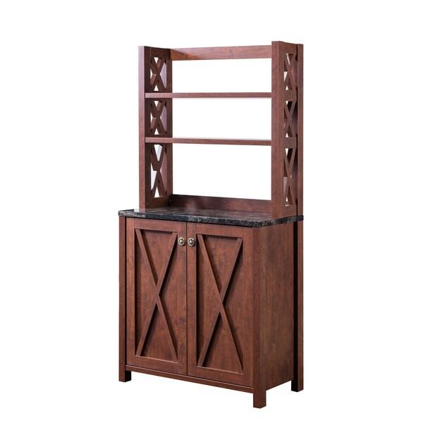 Small Kitchen Cabinet Bookcase Rustic Farmhouse Barn Door Pantry Storage Hutch