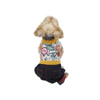 Anima Yellow/Green Puppy T-Shirt with Denim Jeans Pants Set for Dogs