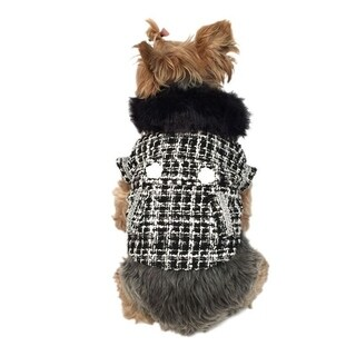 Anima Black/White Faux Fur Collared Fashion Trench Coat for Dogs Puppy Pets