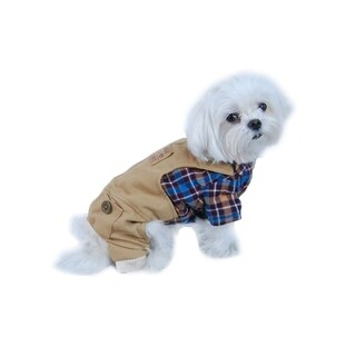 Anima Blue/ Brown Plaid Top with Khaki One-Piece Overalls for Dogs Puppy Pets