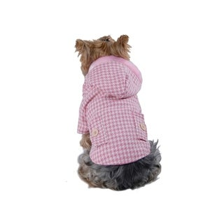 Anima Pink Soft Houndstooth Jacket Hoodie Coat for Dogs Puppy (Size 2XS - L)