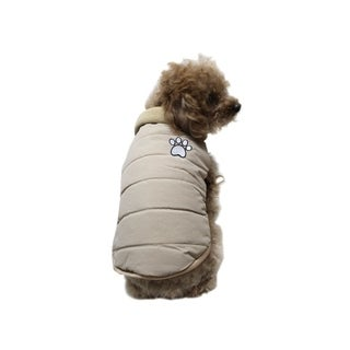 Anima Beige Winter Quilted Pleather Vest withg Interior Fleece & Fur Collar for Dogs Puppy