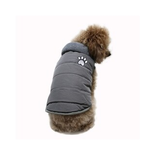 Anima Grey Soft Winter Quilted Pleather Vest with Interior Fleece, Fur Collar for Small/Toy Breed Dogs (Machine Washable)