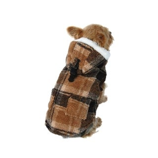Anima Brown Fluffy Plaid Fleece Hoodie Jacket Coat for Dogs Pets Puppy