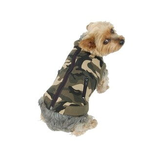 Anima Green Camo Print Zip Up Jacket Vest for Puppy Dogs